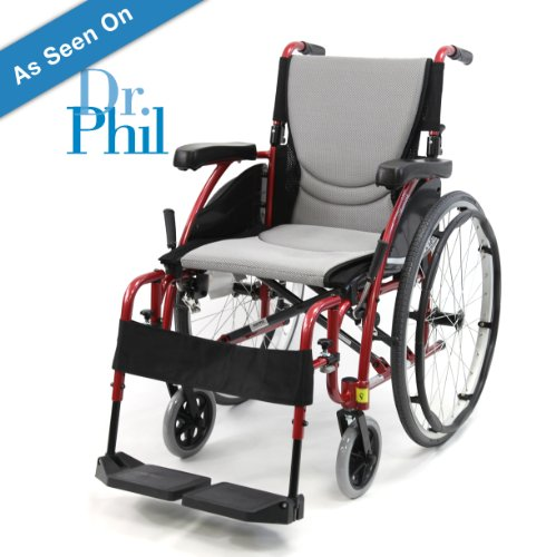 New Karman S-Ergo 115 ( S-Ergo115F20RS ) Ultra Lightweight Ergonomic Wheelchair with 20' Seat Width, Swing Away Footrest in Red