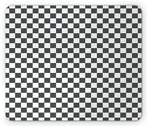 Ambesonne Checkered Mouse Pad, Monochrome Composition Classical Chessboard Inspired Abstract Tile Print, Rectangle Non-Slip Rubber Mousepad, Standard Size, White Grey