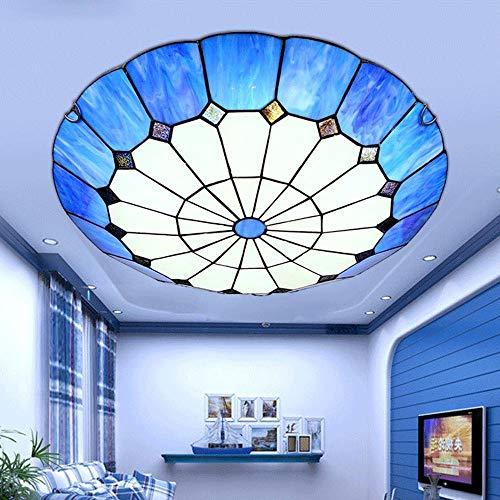 Tiffany Traditionele LED plafondlamp 30 watt gang slaapkamer restaurant aangepaste plafond messing melkglas oranje libelle ring binnenverlichting Oslash; 40CM wit licht geel