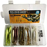 Savage Gear Fat Minnow T-Tail Kit 30 Gummifische +6 Jighaken, Gummiköder, Angelset, Jigköpfe, Angelbox, Köder Set, Angelköder für Hecht, Zander, Barsch & Forelle, Hechtköder, Zanderköder, Barschköder