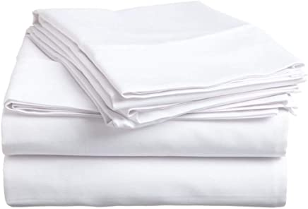 Hotellinen 1500 Thread Count White Solid Egyptian Cotton Elegant Comfort 4-Piece Super Soft Sheet Set with 15'' Deep Pocket,  California King Size