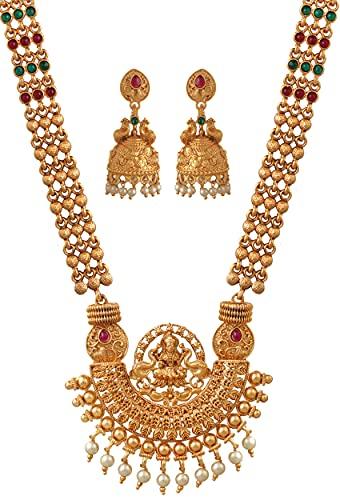 Mansiyaorange 1 Gr Gold Premium Antique Matte Finish Long Rani Haar Necklace...