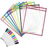 Fundas para Escribir y Borrar, Diealles Shine 10pc Colores Diferentes Resuable Dry Erase Pockets Papelería Suministros con Bolígrafos, Ideal para Uso en la Escuela o en el Trabajo, 35.5×25.5 cm