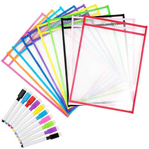 Diealles Shine Lern und Sammeltaschen, 10 Stück Reusable Dry Erase Pockets mit Kugelschreiber Schreibwaren Lieferungen für Büro und Schule, 35.5×25.5 cm