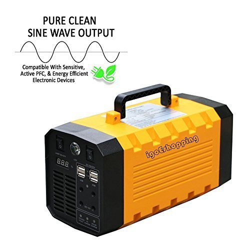 (Pure Sine Wave) Portable UPS Power Supply Emergency Charger Battery Backup with 110V/500W AC Outlet,12V Car,USB Output for Home,Outdoor Use