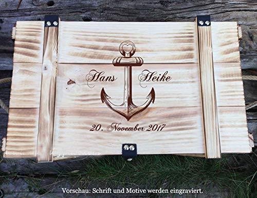 Große Erinnerungskiste Maritim aus Holz, graviert mit Wunschmotiv – Hochzeitsgeschenk personalisiert – Erinnerungskiste mit Gravur – Hochzeitskiste – Hochzeitstruhe - 2