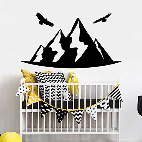 yaonuli vinyl muursticker, motief bergen, wand, zelfklevend, kinderkamer, decoratie, vogel voor kinderen, nachtkastje, wanddecoratie, 75 x 162 cm
