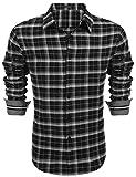 COOFANDY Camisa para hombre, camisa a cuadros, camisa informal de corte normal, camisa de fiesta para hombre, camisa de manga larga a cuadros Negro M