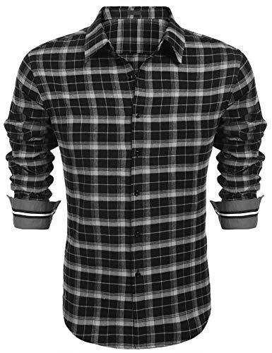 COOFANDY Herren Hemd Langarm Kariert Trachtenhemd Kentkragen Regular Fit Freizeit Casual Party Basic Männer Langarmhemden(Schwarz,L)