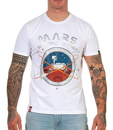 ALPHA INDUSTRIES Herren Mission to Mars T T-Shirt, White, XXL