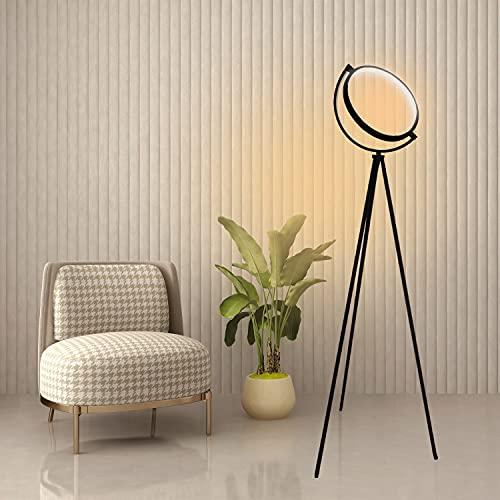 Lámpara de pie LED negra con trípode, 3000 K, luz blanca cálida, moderna alta lámpara de pie de 150 cm, lámpara de pie de metal suave para los ojos, para salón, oficina