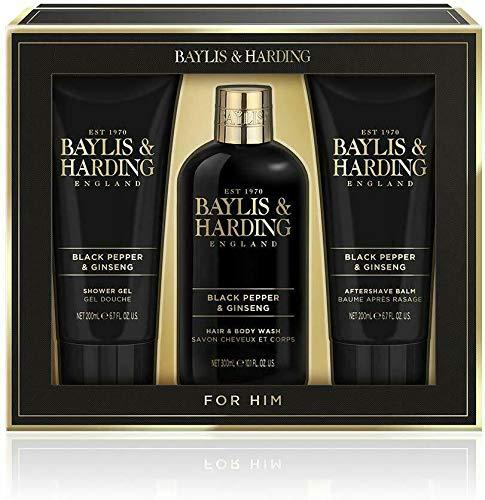 Baylis & Harding Signature Gold Men's Black Pepper & Ginseng Bathing Essentials Trio Giftset