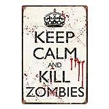 Doitsa 1x Señal de Advertencia Retro Poster Keep Calm and Kill Zombies Cartel del Arte de la Pared de la Placa Metal Decoración para Cafe Bar Cine
