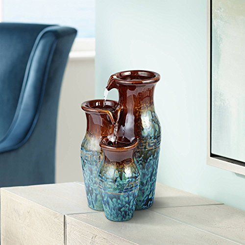 John Timberland Mediterranean Jar Zen Indoor Table-Top Water Fountain 11 1/2' High Cascading for Table Desk Office Home Bedroom
