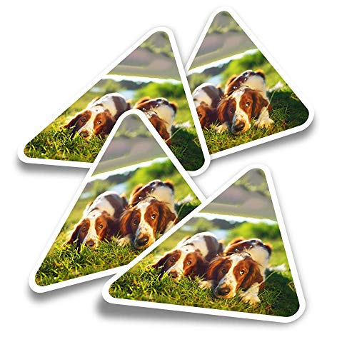 Vinyl Triangle Stickers (Set of 4) - Welsh Springer Spaniel Dog Puppy Fun Decals for Laptops,Tablets,Luggage,Scrap Booking,Fridges #16840