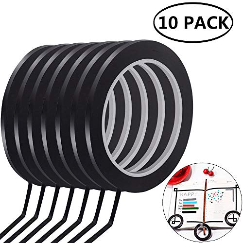 BETOY Whiteboard Tape, 10 Rollen Whiteboard Graphic Chart Tape 3 mm x 50 m Whiteboard Band Whiteboard Klebeband Markierungsband, Schwarz