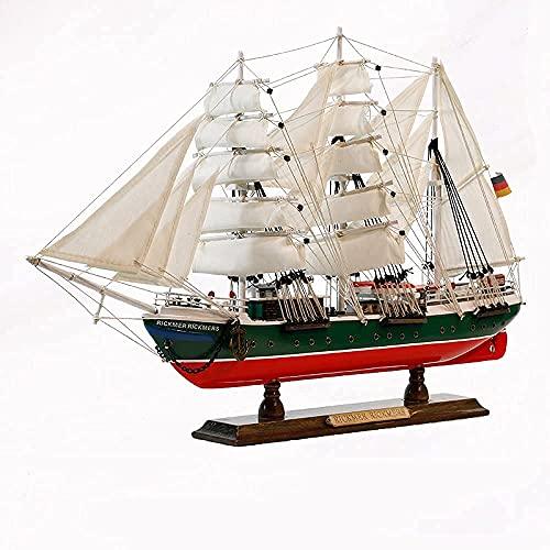 JANEFLY Velero prusiano Modelo hogar navegacin Suave Adornos Decorativos simulacin Adornos de Barco de artesana de Madera Maciza