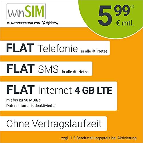 Handyvertrag winSIM LTE All 4 GB - ohne Vertragslaufzeit (Flat Internet 4 GB LTE mit max. 50 MBit/s mit deaktivierbarer Datenautomatik, Flat Telefonie, Flat SMS und EU-Ausland, 5,99 Euro/Monat)