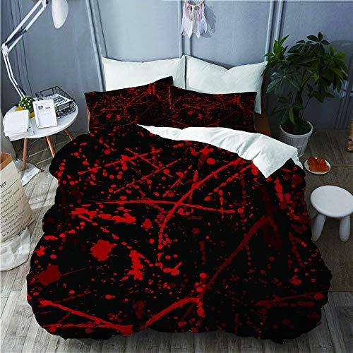 Marutuki Bettwäsche-Set,Nahtloses Muster mit Blutflecken,Mikrofaser Bettbezüge Set mit Reißverschluss,und Kopfkissenbezüge,240x260