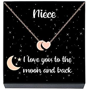 Niece Necklace, I Love You to The Moon and Back Heart & Moon Pendant Necklace, Sentimental Niece Jewelry Gifts Gifts from Aunt/Uncle