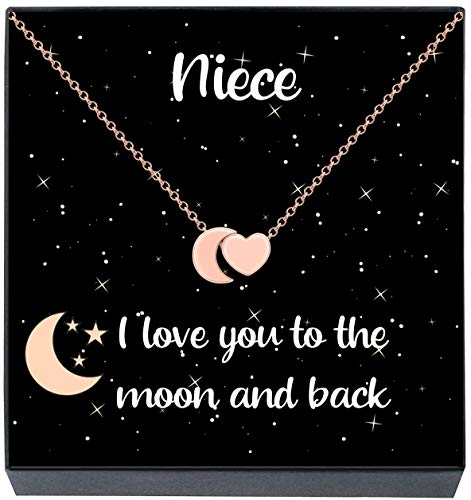 Gifts for Niece I Love You To The Moon and Back Heart & Moon Pendant Necklace, Stocking Stuffers Christmas Jewelry Gifts for Girls Women, Birthday Gifts from Aunt Uncle (Rose Gold Plating)
