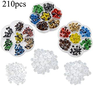 TOVOT 210 PCS Colorful Safety Eyes 8 mm- 12 mm Diameter with Washer for Bear, Doll, Puppet, Plush Animal