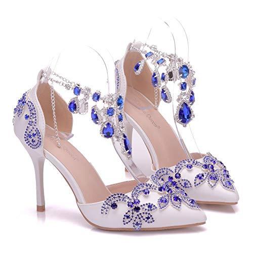 ZQXDMM dames sandalen met hak hakken, met gesp, enkele punt, leeg (kleur: wit, maat: 34)