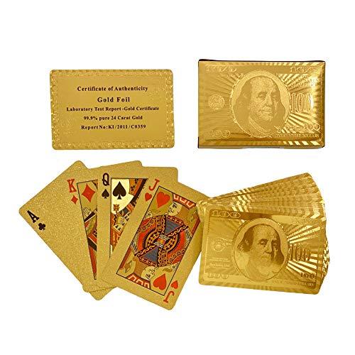 New Dimensions 24 Karat Gold Foil Hundred Dollar Bill Look Standard Deck Playing Cards