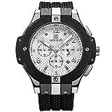 Armbanduhr Megir Herren Uhren Luxus mit Militär Schwarz Silikonarmband Groß Weiß Chronograph Kalender Wasserdicht XL