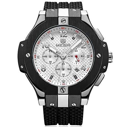 Reloj Megir Militar Grande, Relojes cronógrafo de Cuarzo con Correa Negro de Silicona para Hombre, Impermeable