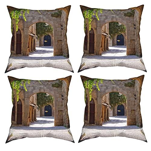 Mgbwaps Italienische Straßenkissenbezüge 4er Set, dekorative Überwurfkissenbezüge 40,6 x 40,6 cm, quadratische Kissenbezüge für Couch Sofa Wohnzimmer