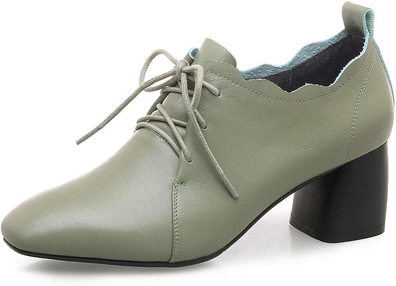 Frauen Kuh Leder BüRo Pumpt FrüHling High Heels Karree SchnüRen PrGnanten Stil Keilabsatz Kleid Schuhe
