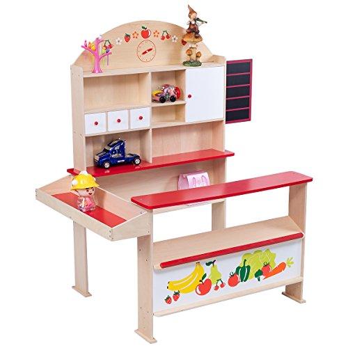 COSTWAY Kaufladen Kinder 116 x 70 x 117 cm, Kaufmannsladen mit Tafel, Kinderkaufladen, Einkaufsladen, Verkaufsstand, Marktstand geeignet für Kinder ab 3 Jahren