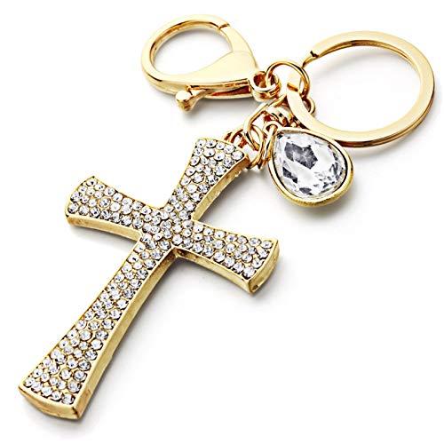 Neaer Llavero de cristal completo con forma de cruz, llavero de la suerte, diseño de lágrima de la suerte, bolso colgante para mujer, llavero para coche
