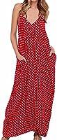 LILBETTER Women V-Neck Polka Dot Print Spaghetti Strap Boho Long Maxi Dresses
