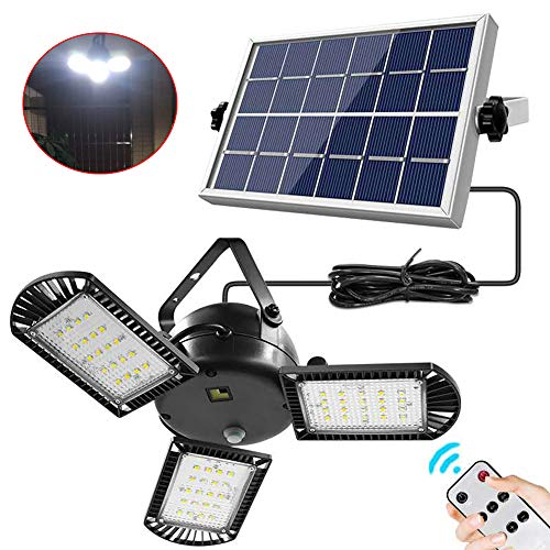 Solar Pendant Lights, Upgraded 60 LEDs Solar Chandelier Lights with Remote Control, IP65 Waterproof Adjustable Brightness Auto On/Off Hanging Shed Lamp for Outdoor Garden Backyard Parking Lot