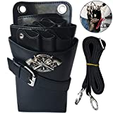 WINGOFFLY Hair Scissor Holster Pouch with Waist Shoulder Belt for Hairdressers Barber PU Leather Shears Hairdressing Tool Case Bag Holder Black