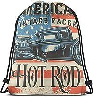 アメリカのホットロッドラスターコピーアンティーク自動車ドローストリングバックパックジムサックシンチバッグストリングバッグ