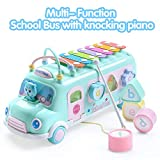 EFOSHM Intellectual School Bus Baby Toy, Piano Bus Toys with Shape Puzzles Knocking Piano Music...