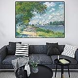 Claude Monet Seine en Argenteuil Impresión impresionista Pintura de paisaje Póster Impresiones Imagen de pared para sala de estar Marco de 70X100cm