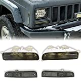 Front Corner & Bumper Signal Lights Caps/Lens Compatible with 1997-2001 Jeep Cherokee XJ(Smoke)
