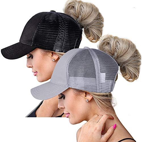 High Ponytail Hole Baseball Hats Cap for Women,Messy Bun Hat Adjustable Cotton and Mesh Trucker Baseball Sun Cap Black (Black/Grey(W))