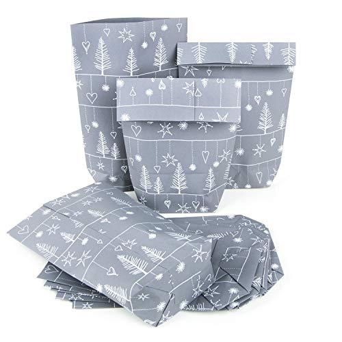 25 Stück Papiertüte GRAU SILBER WEISS 14 x 22 x 5,5 cm Verpackung Weihnachten Kunden Mitarbeiter Weihnachtsverpackung give-away Weihnachtsgeschenke verpacken