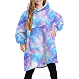 Natsuki Purple Galaxy Reversible Oversized Blanket Hoodie for Kids Thick Flannel Sweatshirt with Sleeves and Giant Pocket TW002
