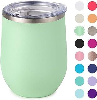 Maars Bev Steel Stemless Wine Glass Tumbler, 12 oz | Double Wall Vacuum Insulation - Matcha Semi Matte