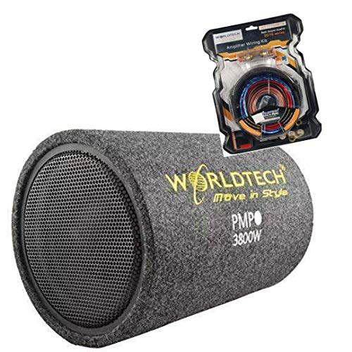 Worldtech 10 inch high Sound bass Tube with inbuilt Amplifier and Premium worldtech Amplifier kit