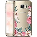 QULT Carcasa para Móvil Compatible con Funda Samsung Galaxy S7 Edge Transparente Dibujo Silicona Suave Bumper Teléfono Caso para Samsung S7 Edge Flores peonías