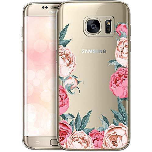 QULT Custodia Compatibile con Samsung Galaxy S7 Edge Cover Trasparente con Disegni Chiaro Cristallo Silicone Morbido Anti-Scratch Bumper Case per Samsung S7 Edge peonie