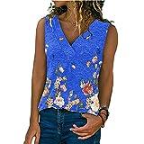 Camiseta Mujer Sexy con Cuello V Sin Mangas Shirt Mujer Moda Transpirable Elegante Estampado Flores Verano Camisola Mujer Temperamento Tops Mujer B-Blue XXL