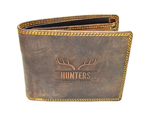 Hunters Leder Geldbeutel Wild Büffel Leder-Geldbörse Natural Hunter Leder Herren Portemonnaie Herren Geldbeutel
